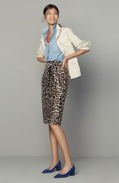 51fc888696 Product Image, click to zoom Leo Print, J Crew Outfits, Leopard Skirt Outfit