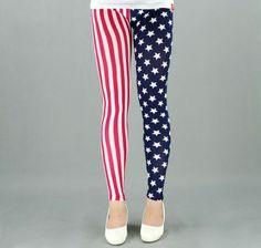 women's rock star stripe print legging stretchy tights pants fashion leggings