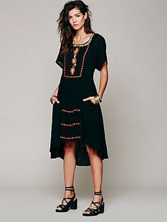 Free People Folk Embroidered Dress