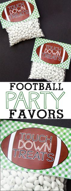 football party food Get ready for the BIG Game with these free printable football party favors! Fill a cellophane bag with treats, print the free printable and staple! Football Party Favors, Football Themes, Football Birthday, Sport Football, Football Design, Football Parties, Basketball Party, Football Season, Football Spirit