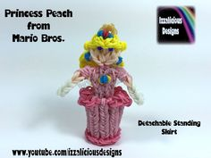 Rainbow Loom Princess Peach Action Figure/Doll/Charm from Mario Bros. tutorial by Izzalicious Designs.