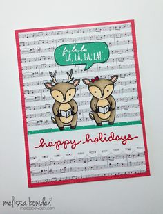 Lawn Fawn Party Animal Reindeer Carolers card by melissabowden.com
