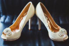 ivory bridal shoes with bling / Koru Wedding Style: {Pink & Ivory San Francisco Wedding} Ava & Sercio