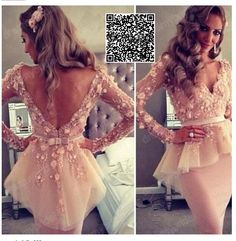 Free shipping Sexy Myriam Fares open back mermaid long sleeves Prom dresses short evening dress new fashion 2014 new arrival