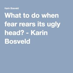 What to do when fear rears its ugly head? - Karin Bosveld