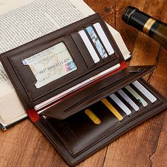 Genuine Leather Man Wallet 2014 New wallet for Men arrival brand design purse Men wallets famous brand  Black and brown B7-903