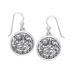 Ancient Tree of Life with Sun and Moon Symbol Round Filigree Sterling Silver Earrings >>> Check out the image by visiting the link.