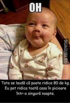 Tata se laudă că poate ridica 80 kg Lets Make A Baby, Baby Love, Facebook Humor, Overdue Baby, Funny Shit, Image Facebook, Cool Pictures, Cool Photos, Funny Pictures