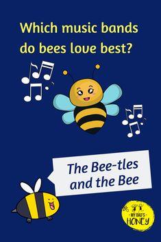 Funny Jokes And Riddles, Kid Jokes, Puns Jokes, Corny Jokes, Jokes For Kids, Bee Happy, Happy Fun, Bee Puns, School Daze