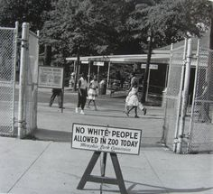 Sign placed in front of the Memphis Zoo on 'Negro day', only day of the week that blacks were allowed to visit,1959.