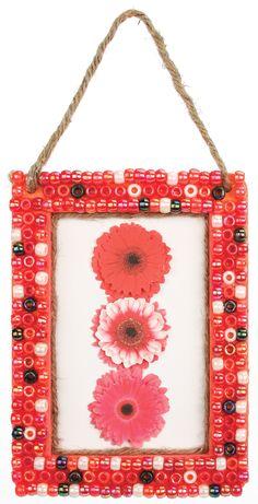 Nicole™ Crafts Pony Bead Frame #kids #crafts bead frame, diy bead, craft camp, pony beads, diy craft, picture frames, bead pic, kid crafts, poni bead