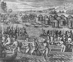 """Venezuela fue así llamada en referencia a """"pequeña Venecia"""", así llamada por Américo Vespucio en su viaje de 1497 al ver las viviendas construidas sobre palafitos en el agua del Lago Maracaibo."""