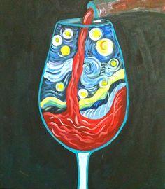 Van Gogh Wine glass Painting