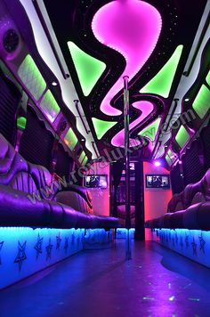 GET Your Party Bus - Royal Luxury Limo is ready to accommodate you and guests with most exotic and exclusive transportation service Limousine Interior, Bus Interior, Limo Party, Party Bus Rental, Neon Room, Lounge Party, Transportation Services, Vintage Travel Trailers, Busses