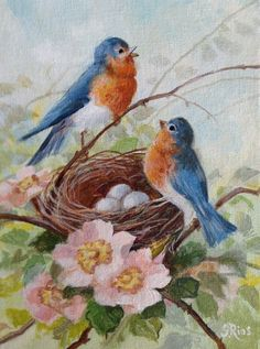 """From the Artist: """"This is a sweet little print, 7""""x 4.75"""" of little bluebirds by their nest, from an original painting I did. Modeled after a vintage postcard, these happy little birds signify joy, ha"""