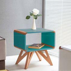 Mesa Lateral/Canto Wellington Branco/Azul - Urbe Móveis | Lojas KD