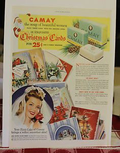 1940s-50s (?) Camay Soap - with bride and offer for Christmas cards - print ad
