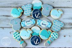It's twins! Baby shower cookies for boys. www.facebook.com/mysprinkleofsunshine