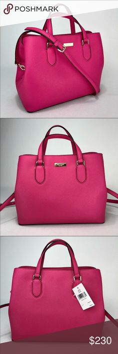 """KATE SPADE ♠️ """"Evangelie/Laurel Way"""" Pink Satchel! KATE SPADE ♠️ """"Evangelie/Laurel Way"""" Pink Satchel! Gorgeous bright pink handbag with removable shoulder strap. 14k gold nameplate and hardware. Measurements in the photos. Care card included. Brand new with tags. kate spade Bags Satchels"""