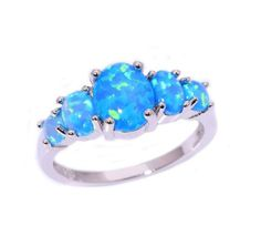 Blue Fire Opal Silver Ring - AtPerrys Healing Crystals - 1