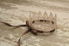 """Sweetest Little Vintage Lace Crown """"Ballet Slipper Pink"""" w/Brown Ribbon Accent. via Etsy."""