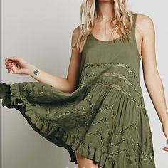 Voile & Lace Trapeze Slip Green. Last picture shows more of a true color. I do not trade. Free People Dresses
