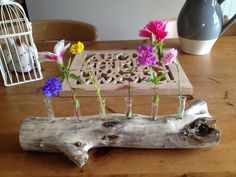 Flower display in drift wood and test tubes