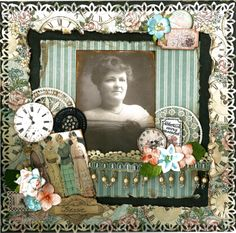 Bessie ~ lavishly embellished page with lace, hanging bead trim and clock faces.