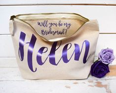 Etsy Personalised Bridesmaid Gift Make Up Bag - Will you be my Bridesmaid, Maid of Honour Gift. - Unique