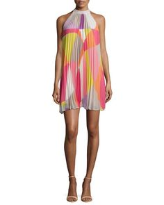 Sleeveless+Mod-Print+Pleated+Dress++by+Trina+Turk+at+Neiman+Marcus.