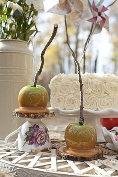 caramel covered apples from a Snow White inspired bridal shoot via Kastles