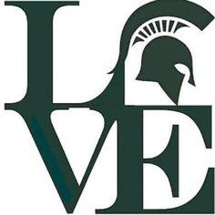 Love MSU Michigan State University Spartans Sticker by HeidiHenion I Smile, Make Me Smile, Make Me Happy, Msu Spartans, Michigan State Spartans Basketball, Msu Basketball, Applique, Michigan State University, Michigan Usa