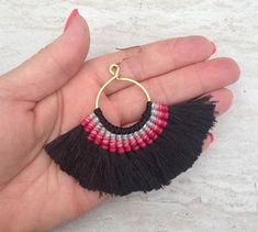 Your place to buy and sell all things handmade Macrame Earrings, Macrame Jewelry, Bead Earrings, Tassel Necklace, Textile Jewelry, Latest Jewellery, Micro Macrame, Large Black, Tassels