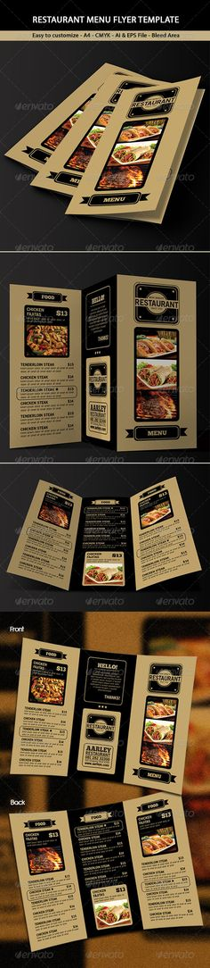 Trifold Restaurant Menu #GraphicRiver This Trifold Restaurant Menu Template can be used for Restaurant, Cafe, Coffee House, Steak House, etc File features 297×210mm A4 + 3mm Bleed CMYK Customizable Text Front & Back Vector AI & EPS File Font used : .dafont /antipasto.font .dafont /chunkfive-ex.font .dafont /old-sans-black.font *Product images are not included Thanks! Created: 29 November 13 Graphics Files Includ...