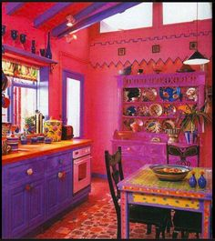 49 Inspiring Colorful Boho Chic Kitchen Designs: 49 Inspiring Colorful Boho Chic Kitchen Designs With Purple And Pink Kitchen Wall And Wooden Kitchen Island And Wooden Dining Table Design Purple Kitchen, Kitchen Colors, Funky Kitchen, Country Kitchen, Awesome Kitchen, Kitchen Modern, Beautiful Kitchen, Bohemian Interior, Bohemian Decor