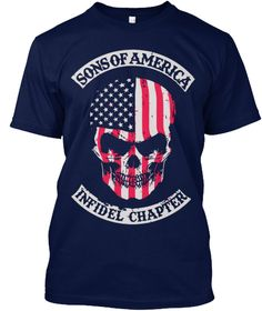 4b2df5a46 Sons Of America Infidel Chapter Navy T-Shirt Front High Quality T Shirts,  Cotton
