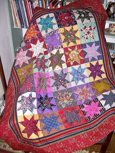 Star quilt pieced entirely with Liberty of London fabrics. Such beautiful colors.