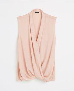 Petite Silky Sleeveless Wrap Blouse - Pink - XXSP