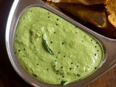 coriander coconut chutney recipe with stepwise photos. this green coconut chutney is another tasty variation of chutney made for south indian snacks. Easy Chutney Recipe, Indian Chutney Recipes, Indian Food Recipes, Veg Recipes, Curry Recipes, Vegetarian Recipes, Cooking Recipes, Recipies, Cooking Rice
