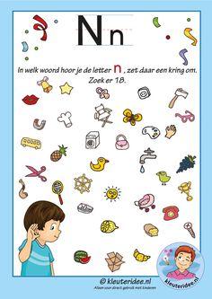 Pakket over de letter n blad 8, in welk woord hoor je een n, letters aanbieden aan kleuters, kleuteridee, free printable