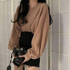 Poncho Pullover Autumn Lycra 2019 New Korean Hong For Kong Style Sweater Women's Loose Outside Wearing Lazy Knitting Top Sleeve Korean Girl Fashion, Korean Fashion Trends, Korean Street Fashion, Ulzzang Fashion, Cute Fashion, Asian Fashion, Kpop Outfits, Korean Outfits, Girl Outfits