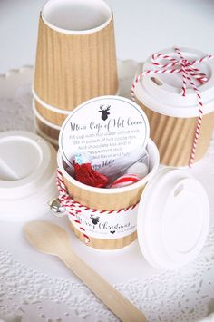 Kraft ripple mini hot cocoa cup gifts with free printables  {TomKat Studio}