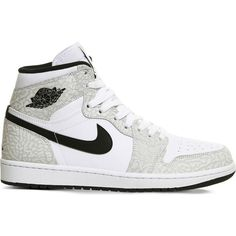 NIKE Air Jordan 1 OG canvas high-top trainers ($165) ❤ liked on Polyvore featuring shoes, sneakers, white black cement, canvas shoes, canvas high tops, canvas sneakers, lace up sneakers and nike trainers