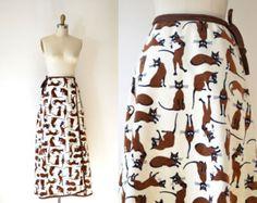 1970s Cat Print Skirt / 70s Novelty Print Maxi Skirt
