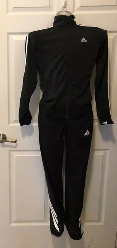 low priced 032cb f1bdc Details about Ladies Women s Vintage A Tracksuit Warmup Suit Size Small  Black white