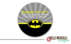 Batman Circle Return Address Labels ~by KelliNichollsDesigns
