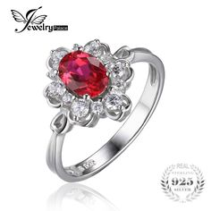 JewelryPalace Solid 925 Sterling Silver 1.5ct Oval Created Red Ruby Engagement Anniversary Promise Ring Fine Jewelry for Women #Affiliate