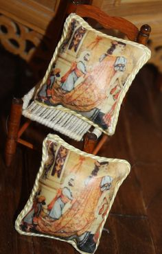 Pair of OOAK arts and crafts era Walter Crane miniature doll house cushions made by transferring image to fabric.  http://stores.ebay.com/happyharvesterminiatures