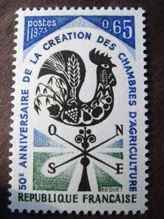 フランスの切手 風見鶏 (未使用) - :kkoma: