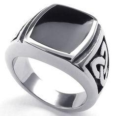 KONOV Joyería Anillo de hombre, Nudo Celta, Celtic Knot Sello, Acero inoxidable, Color negro plata - Talla 20 (con bolsa de regalo)